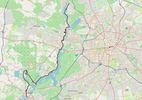 Gefahrene Route von Heiligensee nach Potsdam - 53km